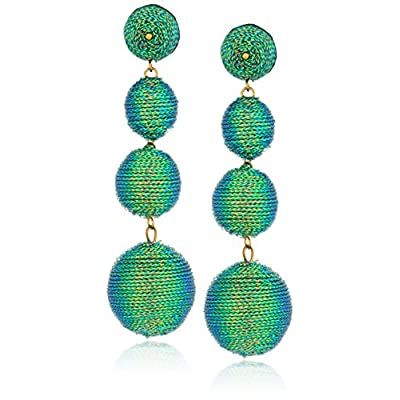 Kenneth Jay Lane Womens 3 Green Thread Small To Large Wrapped Ball Pierced Earrrings W/ Dome Top for cheap