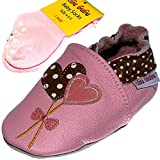 Heart Soft Sole Real Leather Baby Girl Shoes with Matching Anti-Slip Socks (12-18 Months, Pink)