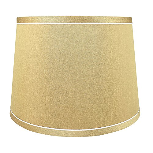 Urbanest French Drum with White Trim, 10-inch by 12-inch by 8 1/2-inch Lampshade, Gold Silk ()