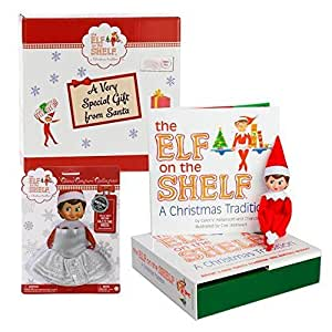 Elf on the Shelf Blue Eyed Girl with Limited Edition Dazzling Dress - Direct From North Pole in Official Santa Gift Box