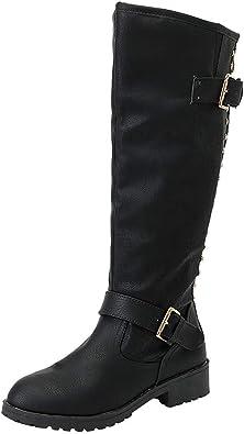 ALIKEEY Bottes Neige Bottes Mollets Larges Bottes Hautes Hiver Femmes Dames Chaussures Rivet Riding Roman Genou Bottes Cowboy Haut Martin Long Boots