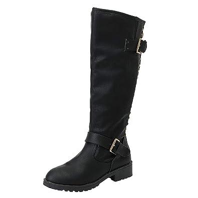 f45fa706f139 TPulling Bottes femmes Hiver Mode Femmes Dames Chaussures Rivet Romain  équitation Genou Hautes Bottes de Cowboy