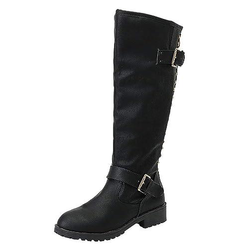 a6698ef5c9cc8 Botines Mujer Cuero Tacón Bloque Largo Botas Altas Otoño Remache Zapatos de Mujer  Cuña Señoras Botines Calzado Moda de Vaquero con Hebilla Gusspower  ...