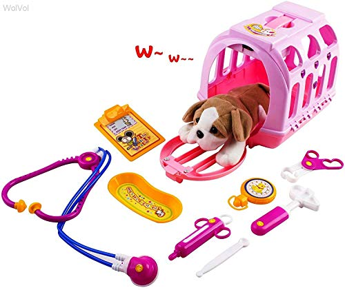 WolVol Pet Doctor Vet Kit Clinic Play Set for Kids, with Sounds (Carrier Play Pet)
