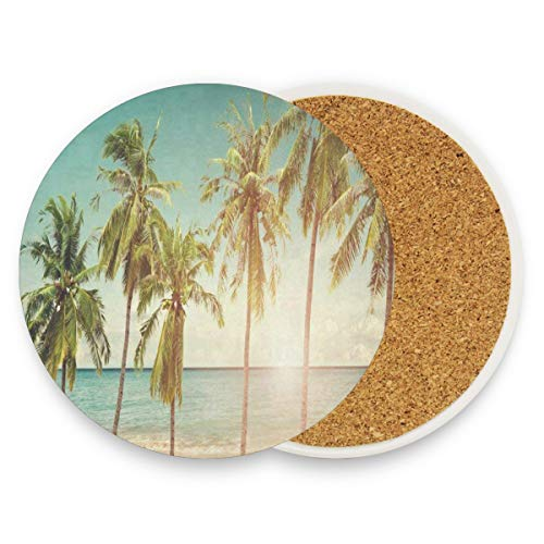 LoveBea Coastal Seaside Tropical Palm Trees Coasters, Prevent Furniture from Dirty and Scratched, Round Cork Coasters Set Suitable for Kinds of Mugs and Cups, Living Room Decorations Gift Set of 4