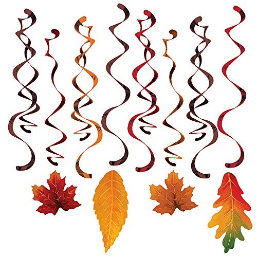 Creative Converting Autumn Leaves deluxe dizzy danglers Fall Thanksgiving Harvest decorations