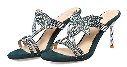 Mules Fille Talon Sexy Haut Stiletto Diamants Aisun Vert Femme qYwOHH0