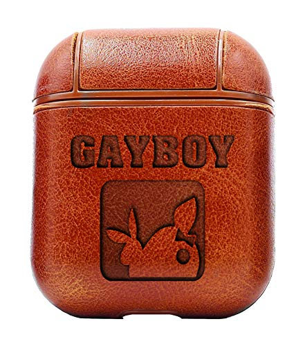 (Humor Funny S GAYBOY Playboy Bunny (Vintage Brown) Air Pods Protective Leather Case Cover - a New Class of Luxury to Your AirPods - Premium PU Leather and Handmade exquisitely by Master Craftsmen)