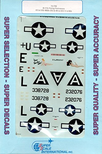 72 B-17g Flying Fortress - Superscale Decals 1:72 B-17G Flying Fortresses 851st BS 490th BG #72-749