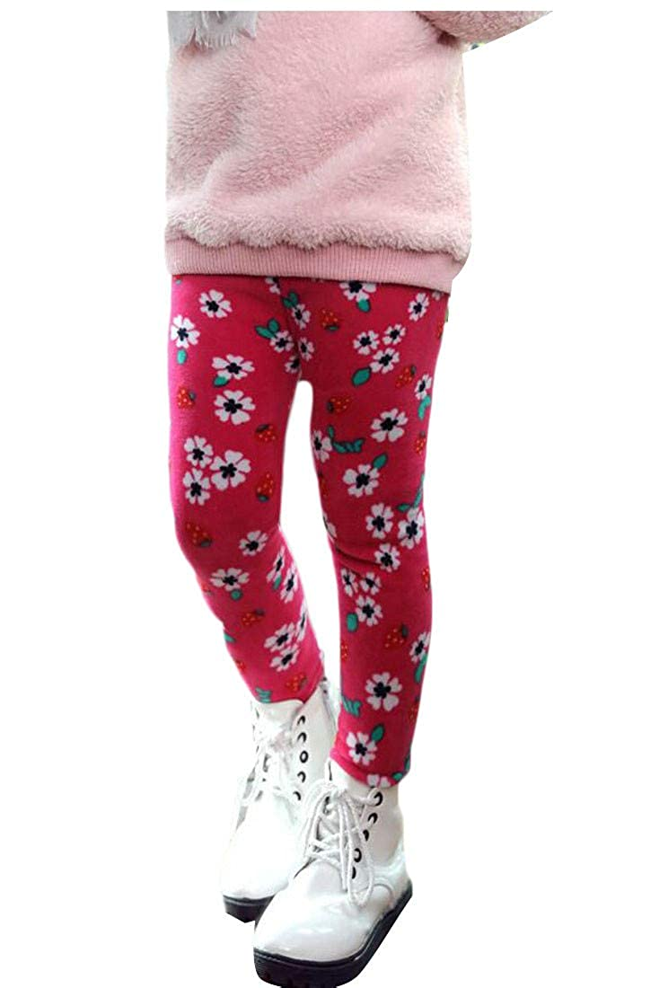 Cromoncent Girl Cute Print Slim Fit Warm Fleece Trousers Legging