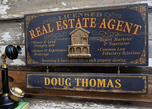 (A Simpler Time Real Estate Agent Wood Sign with Personalized Nameboard)