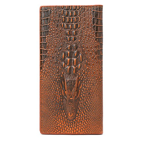 - ShapeW Men's 3D Alligator Wallet Bifold ID Card Holder Purse Case Long Clutch Billfold (Light coffee)