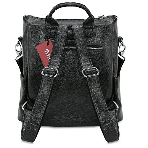 Bag Double Leather Shoulder Synthetic Handbag Backpack Women's Casual Black Zicac Zipper qH1wz7
