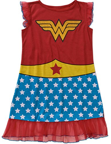 [Wonder Woman Girls' License Pajama Tank Sleep Gown (M 7-8)] (Womens Tank Dress Wonder Woman Costumes)