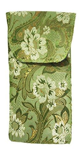 Asian Silk Brocade Style Floral Motif Eyeglass Case Top Closure In Sage - Asian Eyeglasses