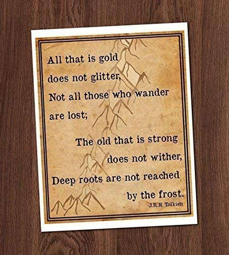 Not All Who Wander Lost Gold Glitter Art Print 8x10 Wall Art Lord of the Rings Hobbit Tolkien Mountains LotR ()