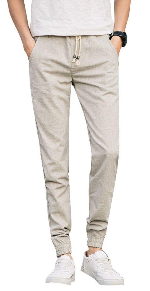 Plaid&Plain Men's Linen Drawstring Pants Lightweight Summer Pants Mens Joggers 7631Apricot 36