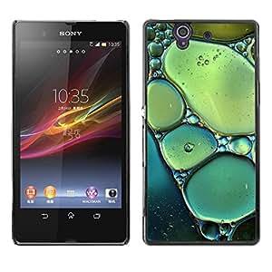 Be Good Phone Accessory // Dura Cáscara cubierta Protectora Caso Carcasa Funda de Protección para Sony Xperia Z L36H C6602 C6603 C6606 C6616 // Sun Spring Nature Bubbles Teal Green