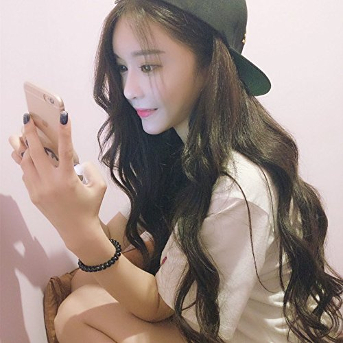 2018 fashion sweet girls may be inclined Qi Liu fluffy wig pear head long curly hair big wave of red wine