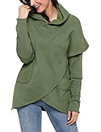 Womens Long Sleeve Asymmetric Hem Pullover Hooded Sweatshirt With Pocket S-XXL