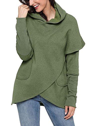 Hoodie Top Jeans (ZKESS Women Long Sleeve Hooded Asymmetric Hem Wrap Hoodie Sweatshirt Outwear Tops Blouse Green Large Size)