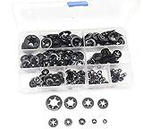 cSeao 360pcs Black Starlock Internal Tooth Lock Washers Assortment Kit, M2/M3/M4/M5/M6/M8/M10/M12