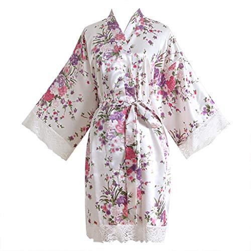 Women Short Robe Sexy Lace Trim Cherry Blossom Kimono Pencil Dress Gown Bath Lingerie (White, Free Size)