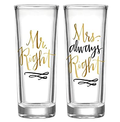 Mr Right and Mrs Always Right Shot Glass Set of 2