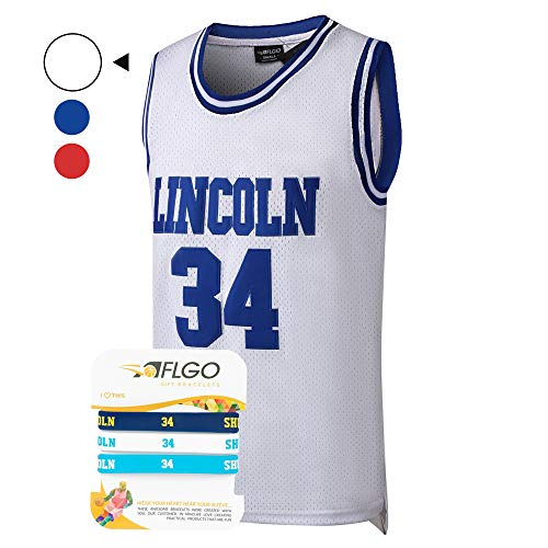 AFLGO Jesus Shuttlesworth #34 Lincoln High School Basketball Jersey S-XXXL Blue, 90's Clothing Throwback Costume Apparel Clothing Stitched - Top Bonus Combo Set with Wristbands (White, XXXL/56)]()