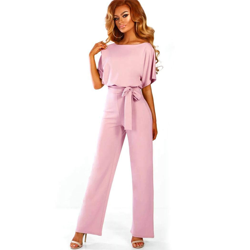 Weardear Women's Elegant High Waist Short Sleeve Jumpsuit Casual Wide Leg Pants Loose Rompers with Belt Dark Pink by Weardear