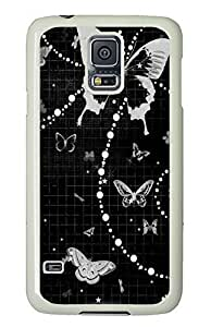 Samsung Galaxy S5 Black abstract N002 PC Custom Samsung Galaxy S5 Case Cover White