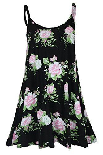 Oops Outlet Women's Strappy Sleeveless Printed Flared Cami Vest Swing Dress Top Plus Size 2XL (US 16/18) Black Cream Rose