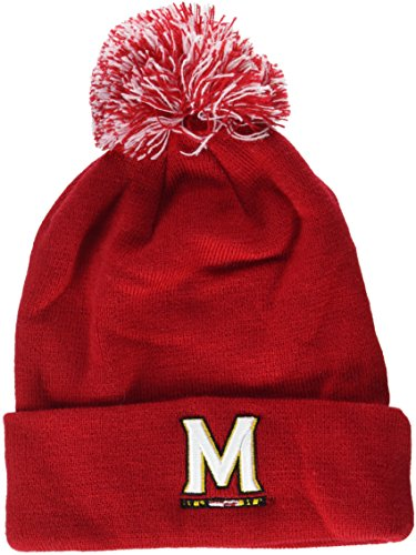 ZHATS NCAA Maryland Terrapins Adult Men Pom Knit Beanie, Adjustable, Team Color