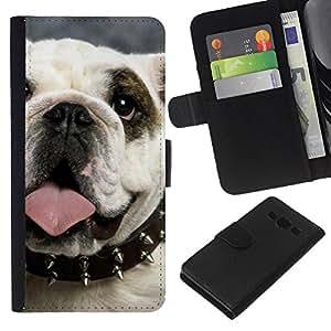 English British Bulldog Symbol Dog - la tarjeta de Crédito Slots PU Funda de cuero Monedero caso cubierta de piel Samsung Galaxy A3