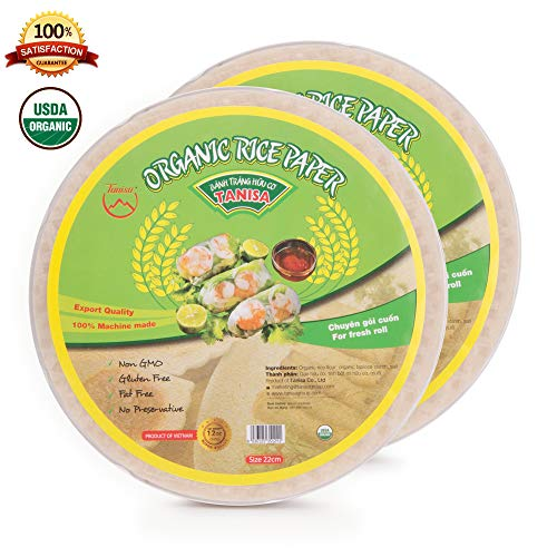 2 packs Tanisa Organic Spring Roll Rice Paper Wrapper for Fresh roll (22cm, Round, 12 oz/pack)