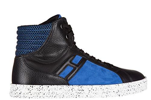 Hogan Rebel chaussures baskets sneakers hautes homme en daim r141 basket blu