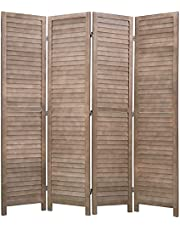 """Wood Room Divider Panel and Privacy Screens 68.9"""" x 15.75"""" Each Panel for Home Office Bedroom Restaurant (4 Panels, Brown)"""