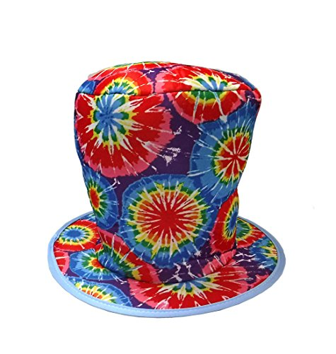 Inside Man Costume (Rainbow Psychedelic Hippie Tie Dye Costume Top Hat - Adults - One Size 11
