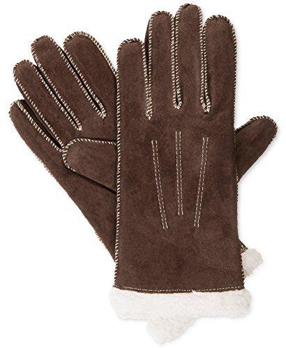 Isotoner Signature Women's Moccasin Stitch Suede Gloves (L, Dark Brown)