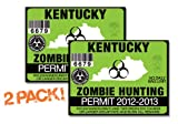 Kentucky-ZOMBIE HUNTING PERMIT TAG-2 PACK-DECAL STICKER-LICENSE-2012/2013-KY