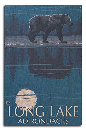 The Adirondacks - Long Lake, New York - Bear at Night (10x15 Wood Wall Sign, Wall Decor Ready to Hang)