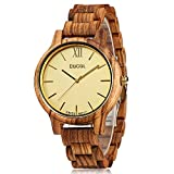 CUCOL Zebra Wooden Watches Men Swiss Movement Quartz Analog Watch with Gift Box,White