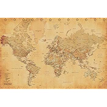 Amazon world map vintage style poster print 24x36 inches world map vintage style poster print 24x36 inches poster gumiabroncs Choice Image