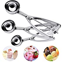 Cookie Scoop Set, Hisome 3 PCS Ice Cream Scoop Stainless Steel Trigger Kitchen Scoop for Melon Baller, Baking, Fruit Salad, Cookie Scoops - Elegant Gift Package