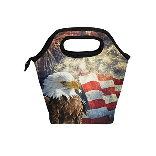 ALAZA American Flag Insulated Lunch Tote Bag, Bald Eagle With Flag And Fireworks Reusable Waterproof School Picnic Carrying Lunchbox Container Organizer For Women Men