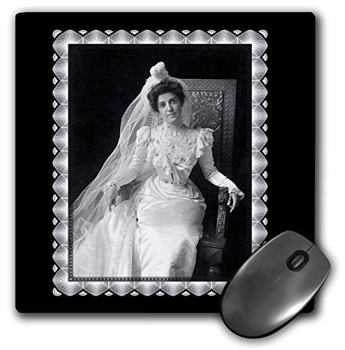 3dRose BLN Vintage Photographs of History and People 1800s - 1900s - Wedding Picture C. 1901 Portrait of a Victorian Era Woman sitting in an Ornate Chair - MousePad (mp_160827_1)
