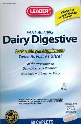 Leader Fast Acting Dairy Digestive Lactase Enzyme Supplement Twice As Fast As Ultra 60 Caplets - Compare to Lactaid Fast Act by Leader