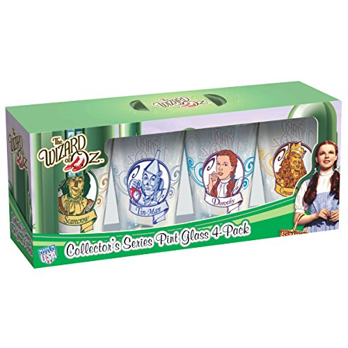 ICUP Wizard of Oz - Character Portrait Swirl Pin 16oz. Glass 4 Pack Featuring The Scarecrow, The Tinman, Dorothy,& The Lion (Oz Characters Wizard)