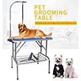 LEIBOU 32'' Professional Foldable Pet Dog Grooming Table Heavy Duty Stainless Steel Frame with arm & Noose & mesh Tray for Dog Cat Pet Grooming, 3 Years Warranty,Max Capacity up to 260lbs,Blue