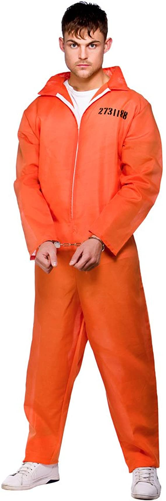 MENS ORANGE PRISONER OVERALL JUMPSUIT CONVICT STAG DO PARTY COSTUME FANCY DRESS